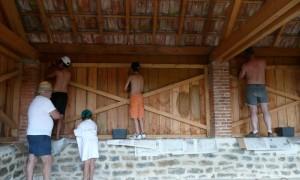 Travaux rénovation lavoir Ménetreux : travaux intérieurs