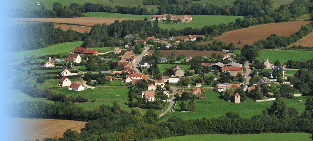 Vue aérienne Charentois commune de Millery